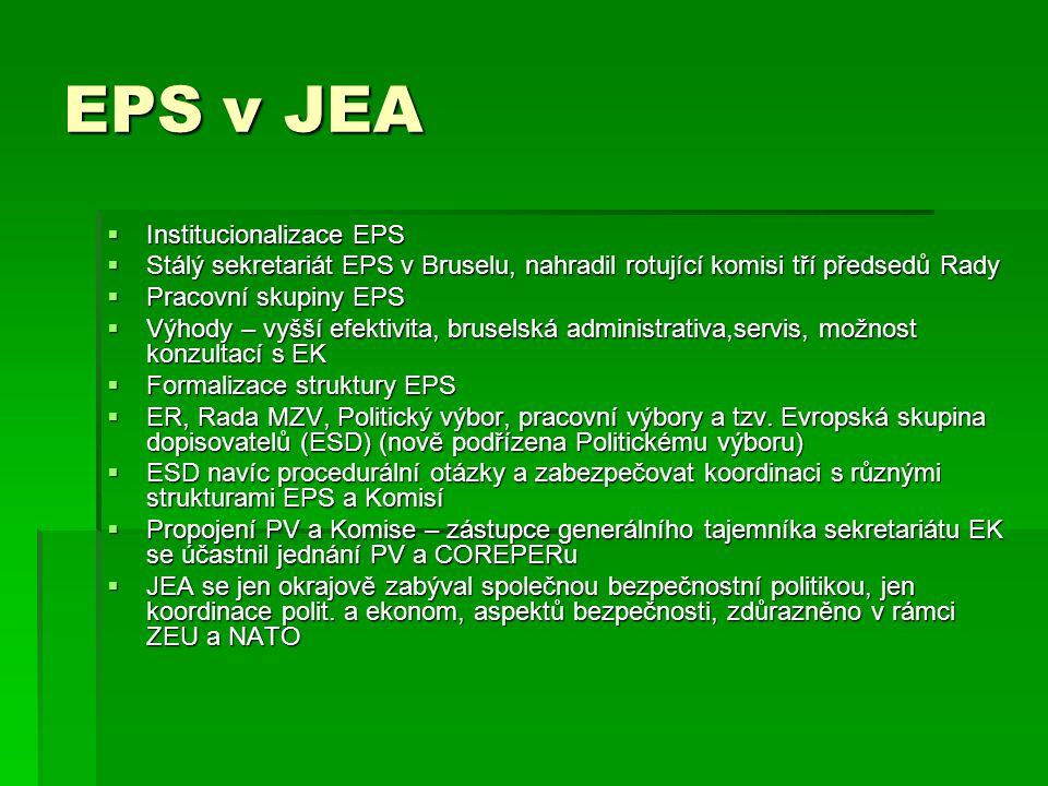 EPS v JEA  Institucionalizace EPS  Stálý sekretariát EPS v Bruselu, nahradil rotující komisi tří předsedů Rady  Pracovní skupiny EPS  Výhody – vyš