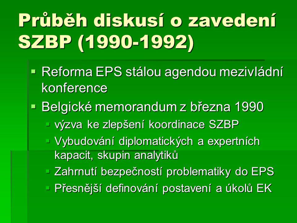 Průběh diskusí o zavedení SZBP (1990-1992)  Francouzsko-německé prohlášení - Kohl a Mitterand pro SZBP, součást budoucí evropské politické unie  Zasedání ER v Dublinu 1990 SZBP samostatným bodem jednání mezivládní konference  Nové francouzsko-německé memorandum prosince 1990 – vytvoření přímé vazby ZEU a ES, nevylučovalo se propojení obou organizací