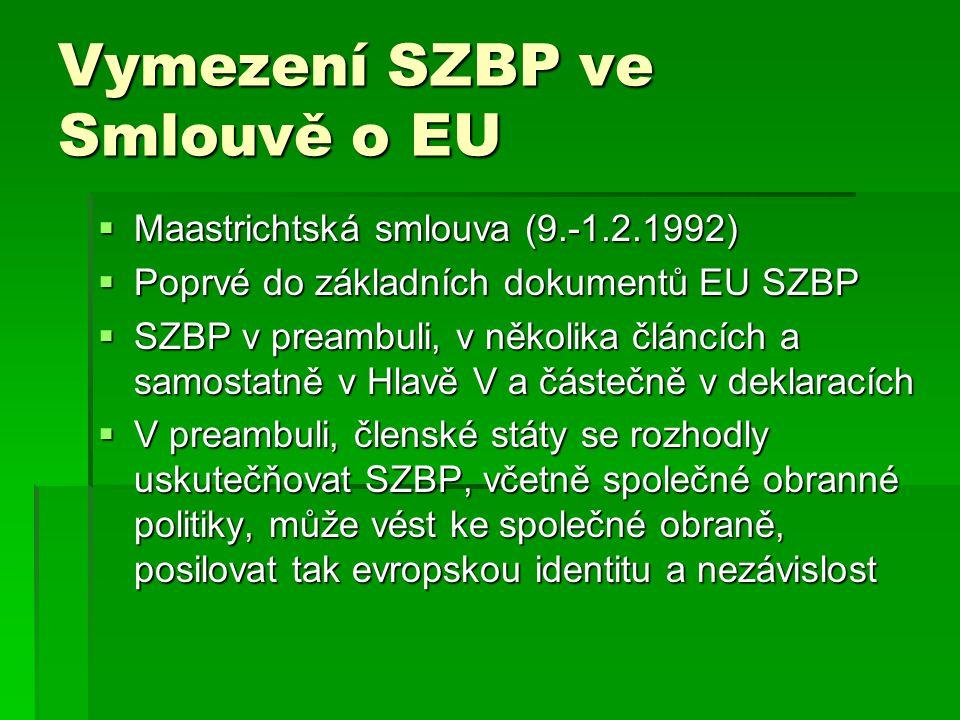 Vymezení SZBP ve Smlouvě o EU  Maastrichtská smlouva (9.-1.2.1992)  Poprvé do základních dokumentů EU SZBP  SZBP v preambuli, v několika článcích a