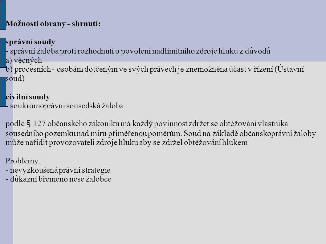 Možnosti obrany - shrnutí: správní soudy: - správní žaloba proti rozhodnutí o povolení nadlimitního zdroje hluku z důvodů a) věcných b) procesních - osobám dotčeným ve svých právech je znemožněna účast v řízení (Ústavní soud) civilní soudy: - soukromoprávní sousedská žaloba podle § 127 občanského zákoníku má každý povinnost zdržet se obtěžování vlastníka sousedního pozemku nad míru přiměřenou poměrům.