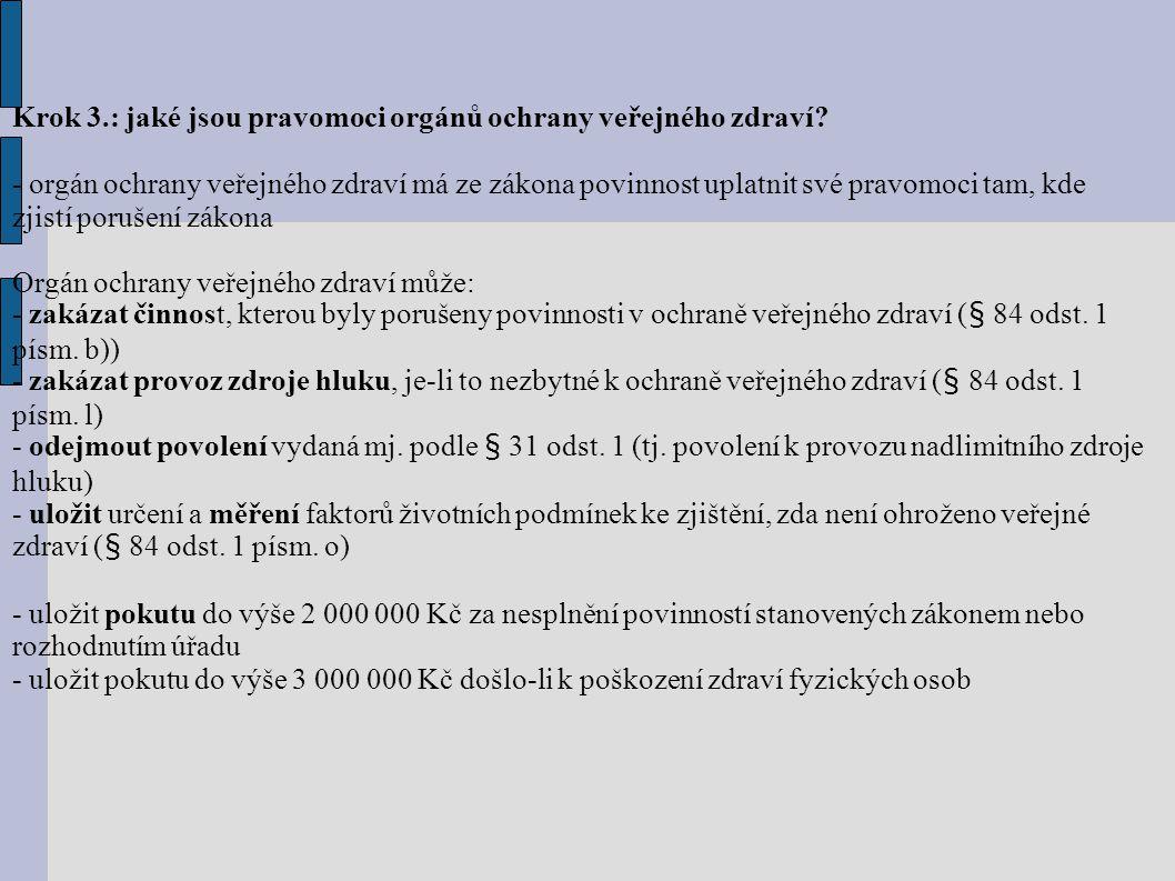 Krok 3.: jaké jsou pravomoci orgánů ochrany veřejného zdraví.