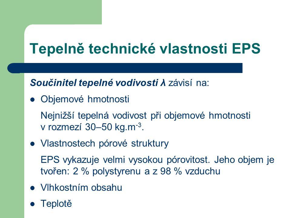 Tepelně technické vlastnosti EPS Součinitel tepelné vodivosti λ závisí na: Objemové hmotnosti Nejnižší tepelná vodivost při objemové hmotnosti v rozme