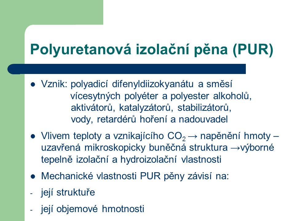 Polyuretanová izolační pěna (PUR) Vznik: polyadicí difenyldiizokyanátu a směsí vícesytných polyéter a polyester alkoholů, aktivátorů, katalyzátorů, st