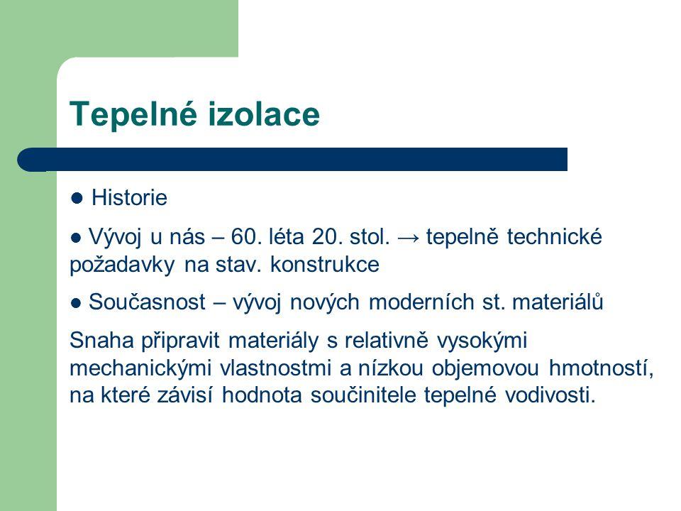 Rozdělení tepelně izolačních materiálů Pěnoplastické látky (pěnové polystyreny, extrudované polystyreny, pěnové polyuretany,…) Vláknité materiály (skleněná, minerální, syntetická vlákna, izolace na bázi ovčí vlny) Pěněné silikáty (pěnové sklo) Minerální materiály (expandovaný perlit, expandovaný vermikulit,..) Organické materiály (materiály na bázi dřeva, přírodních vláken, celulózových vláken) Materiály nové generace (kalciumsilikáty, vakuové izolace)