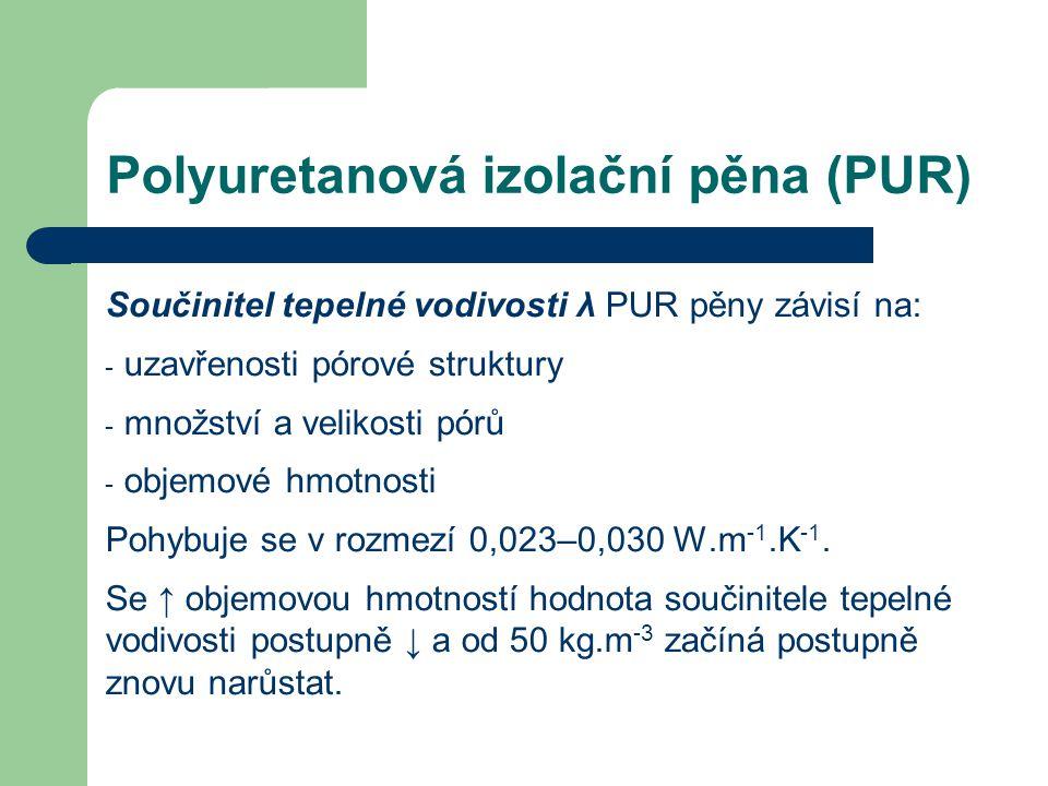 Polyuretanová izolační pěna (PUR) Součinitel tepelné vodivosti λ PUR pěny závisí na: - uzavřenosti pórové struktury - množství a velikosti pórů - obje