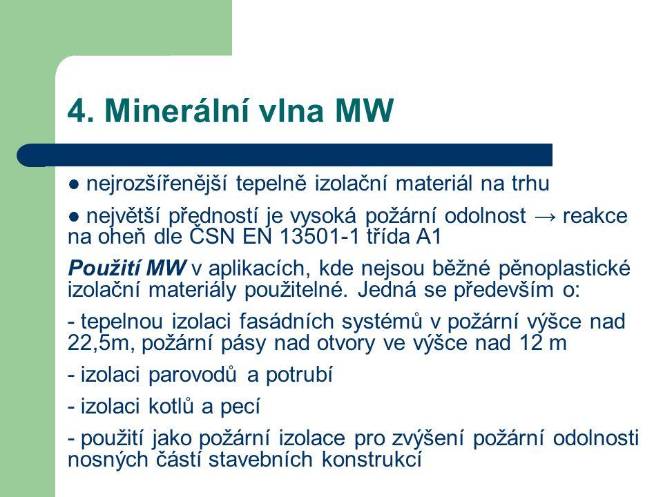 4. Minerální vlna MW nejrozšířenější tepelně izolační materiál na trhu největší předností je vysoká požární odolnost → reakce na oheň dle ČSN EN 13501