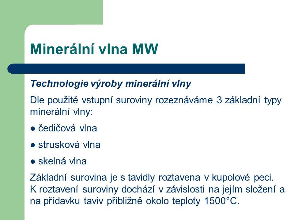 Minerální vlna MW Technologie výroby minerální vlny Dle použité vstupní suroviny rozeznáváme 3 základní typy minerální vlny: čedičová vlna strusková v