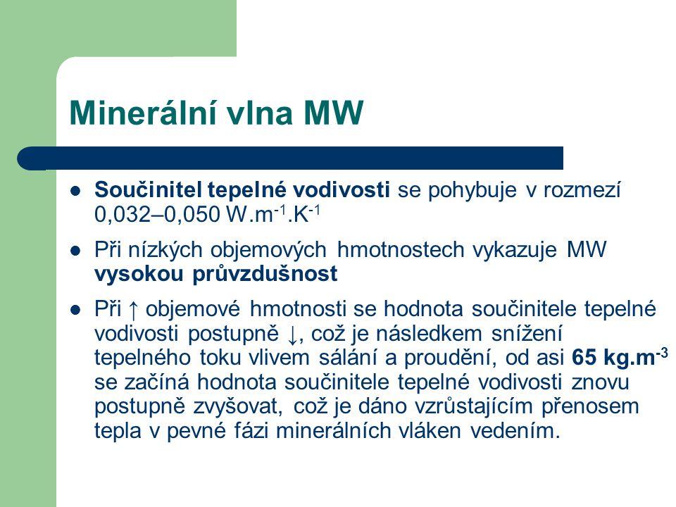 Minerální vlna MW Součinitel tepelné vodivosti se pohybuje v rozmezí 0,032–0,050 W.m -1.K -1 Při nízkých objemových hmotnostech vykazuje MW vysokou pr