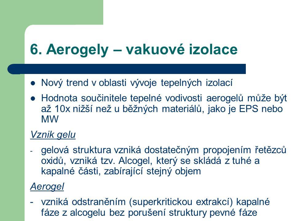 6. Aerogely – vakuové izolace Nový trend v oblasti vývoje tepelných izolací Hodnota součinitele tepelné vodivosti aerogelů může být až 10x nižší než u