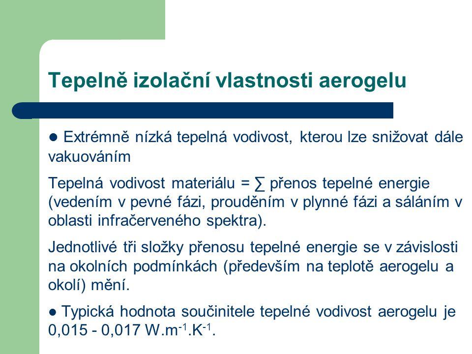 Tepelně izolační vlastnosti aerogelu Extrémně nízká tepelná vodivost, kterou lze snižovat dále vakuováním Tepelná vodivost materiálu = ∑ přenos tepeln