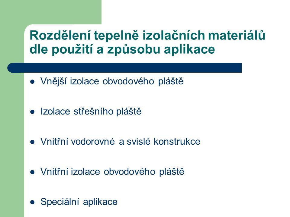Rozdělení tepelně izolačních materiálů dle použití a způsobu aplikace Vnější izolace obvodového pláště Izolace střešního pláště Vnitřní vodorovné a sv