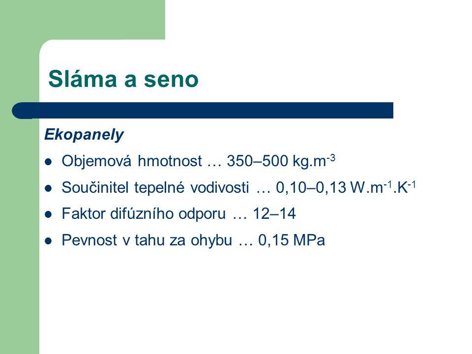 Sláma a seno Ekopanely Objemová hmotnost … 350–500 kg.m -3 Součinitel tepelné vodivosti … 0,10–0,13 W.m -1.K -1 Faktor difúzního odporu … 12–14 Pevnos
