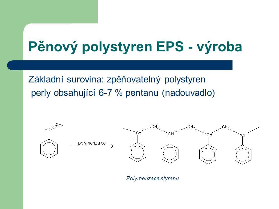 Pěnový polystyren EPS - výroba Základní surovina: zpěňovatelný polystyren perly obsahující 6-7 % pentanu (nadouvadlo) Polymerizace styrenu