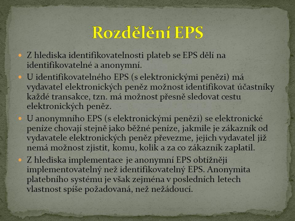Z hlediska identifikovatelnosti plateb se EPS dělí na identifikovatelné a anonymní. U identifikovatelného EPS (s elektronickými penězi) má vydavatel e