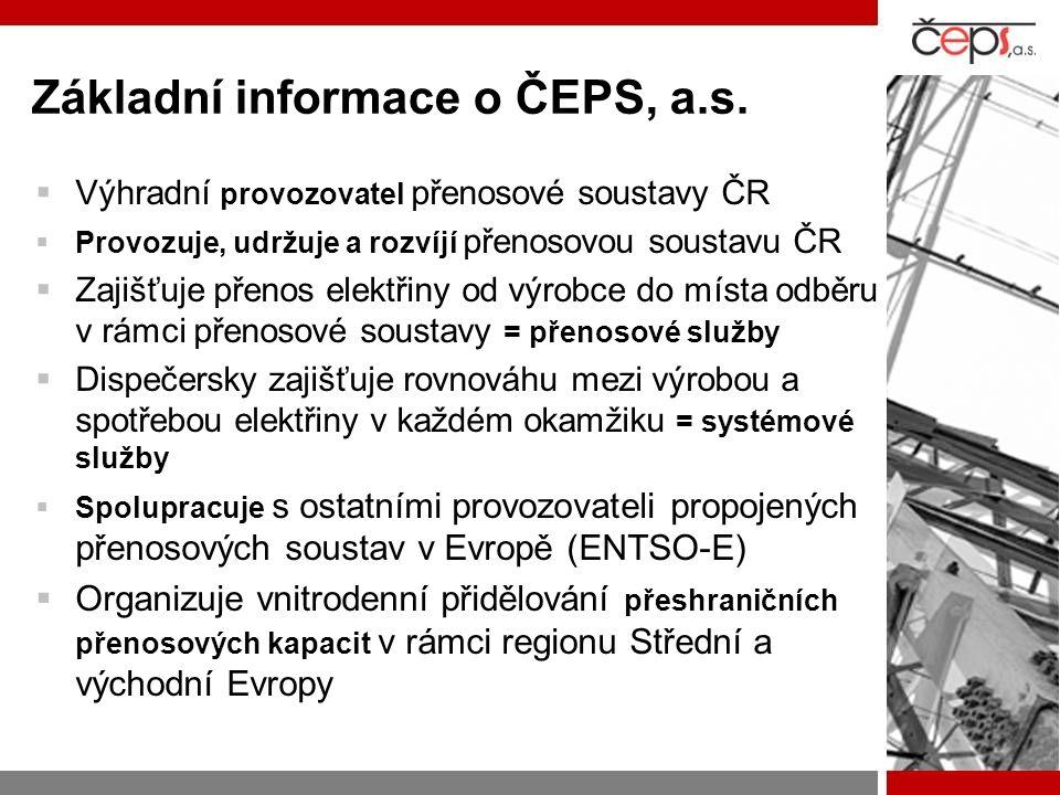 Základní informace o ČEPS, a.s.  Výhradní provozovatel přenosové soustavy ČR  Provozuje, udržuje a rozvíjí přenosovou soustavu ČR  Zajišťuje přenos