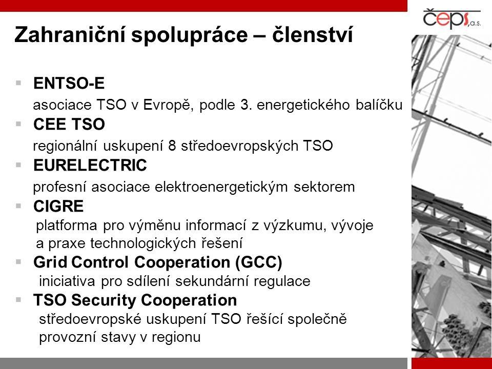 Zahraniční spolupráce – členství  ENTSO-E asociace TSO v Evropě, podle 3. energetického balíčku  CEE TSO regionální uskupení 8 středoevropských TSO