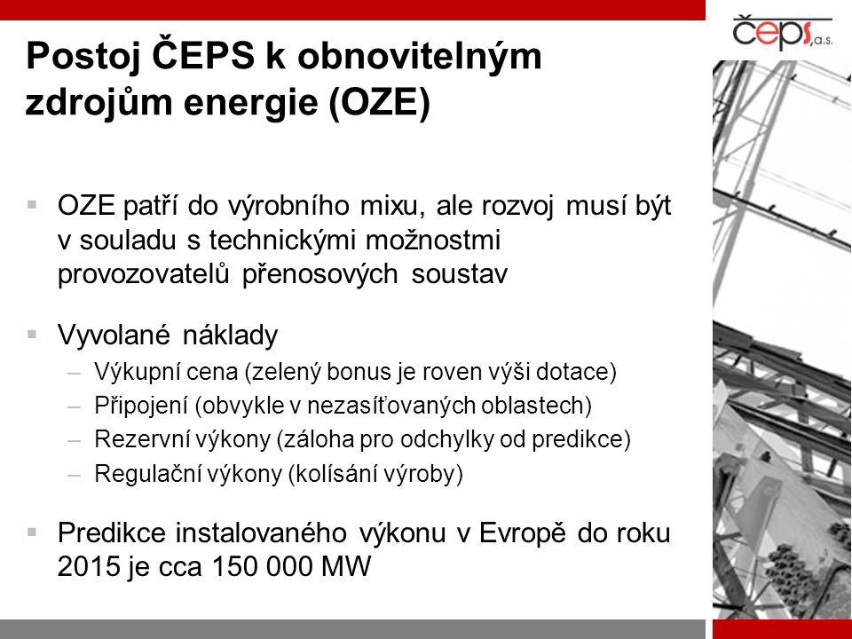 Postoj ČEPS k obnovitelným zdrojům energie (OZE)  OZE patří do výrobního mixu, ale rozvoj musí být v souladu s technickými možnostmi provozovatelů přenosových soustav  Vyvolané náklady –Výkupní cena (zelený bonus je roven výši dotace) –Připojení (obvykle v nezasíťovaných oblastech) –Rezervní výkony (záloha pro odchylky od predikce) –Regulační výkony (kolísání výroby)  Predikce instalovaného výkonu v Evropě do roku 2015 je cca 150 000 MW