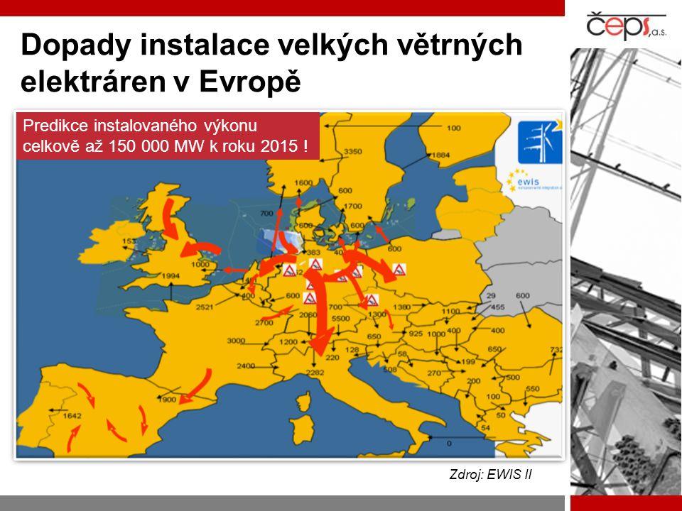 Dopady instalace velkých větrných elektráren v Evropě Zdroj: EWIS II Predikce instalovaného výkonu celkově až 150 000 MW k roku 2015 !