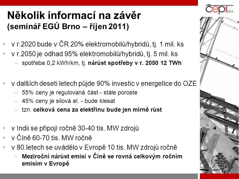 Několik informací na závěr (seminář EGÚ Brno – říjen 2011)  v r.2020 bude v ČR 20% elektromobilů/hybridů, tj. 1 mil. ks  v r.2050 je odhad 95% elekt