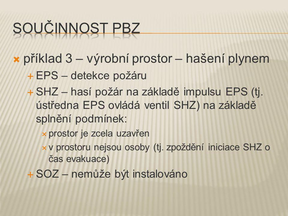  příklad 3 – výrobní prostor – hašení plynem  EPS – detekce požáru  SHZ – hasí požár na základě impulsu EPS (tj.