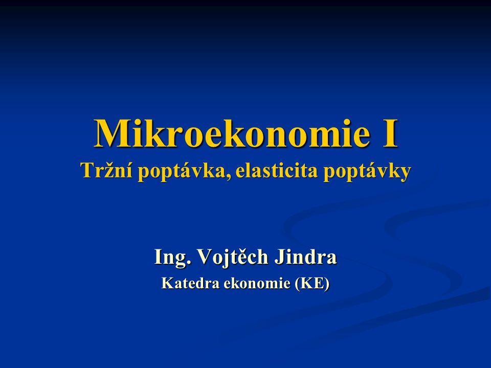 Mikroekonomie I Tržní poptávka, elasticita poptávky Ing. Vojtěch Jindra Katedra ekonomie (KE)