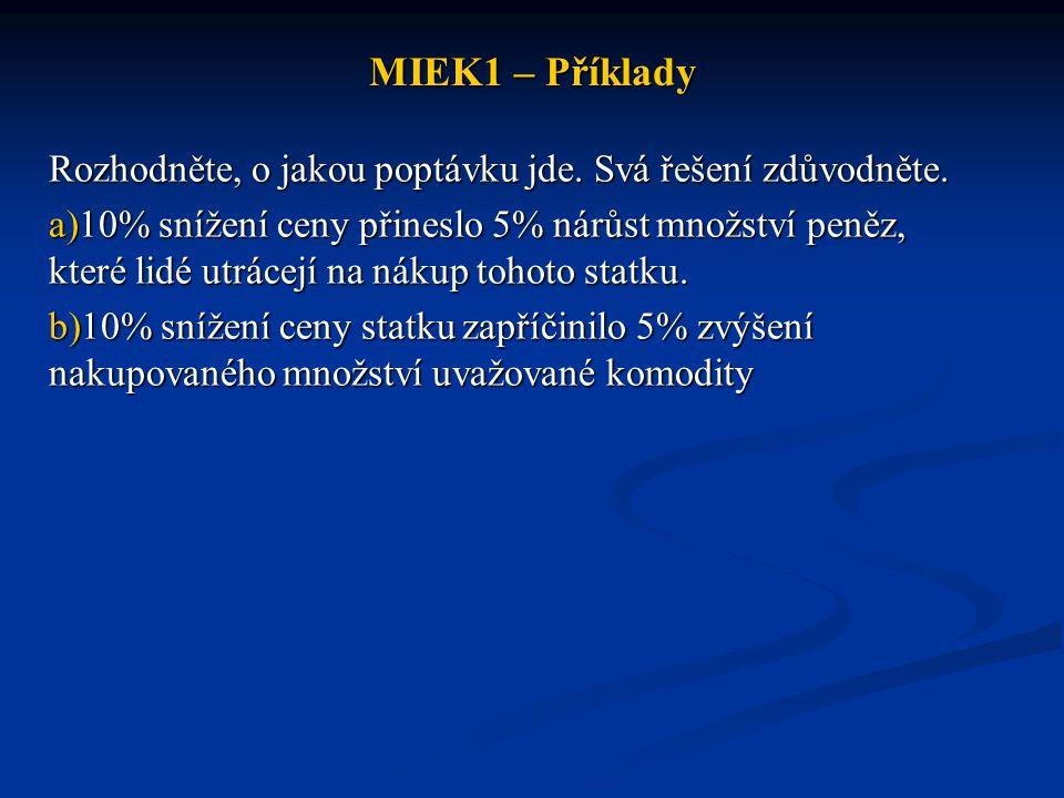 MIEK1 – Příklady Rozhodněte, o jakou poptávku jde. Svá řešení zdůvodněte. a)10% snížení ceny přineslo 5% nárůst množství peněz, které lidé utrácejí na