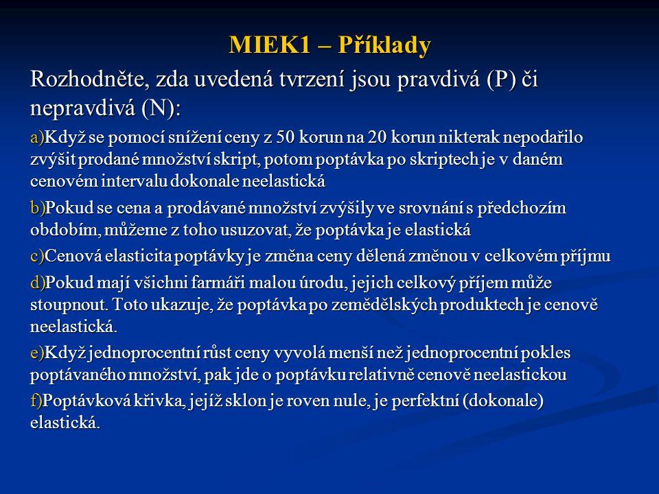 MIEK1 – Příklady Rozhodněte, zda uvedená tvrzení jsou pravdivá (P) či nepravdivá (N): a)Když se pomocí snížení ceny z 50 korun na 20 korun nikterak ne
