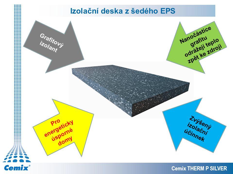 Izolační deska z šedého EPS Cemix THERM P SILVER Grafitový izolant Pro energeticky úsporné domy Nanočástice grafitu odrážejí teplo zpět ke zdroji Zvýš
