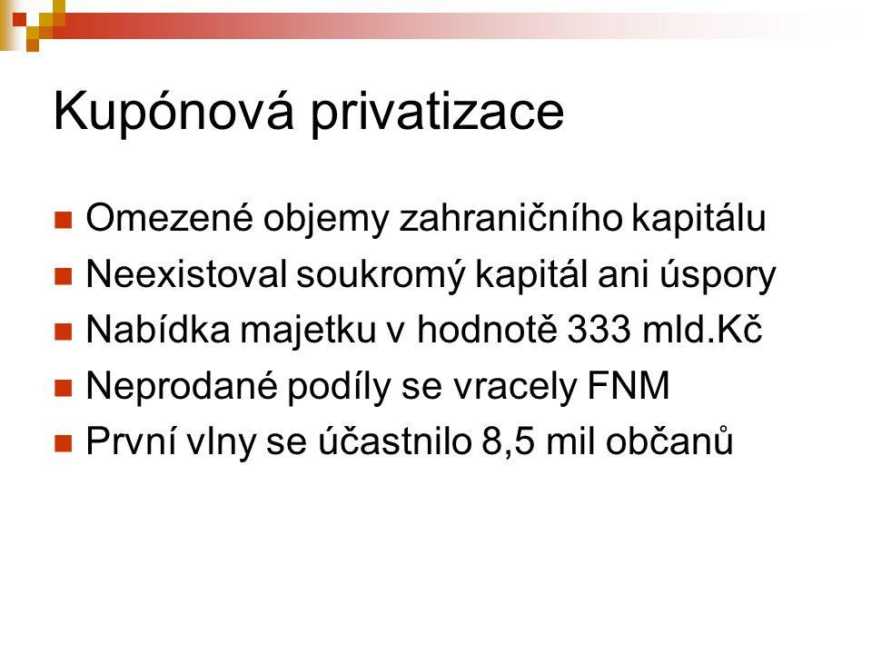 Kupónová privatizace Omezené objemy zahraničního kapitálu Neexistoval soukromý kapitál ani úspory Nabídka majetku v hodnotě 333 mld.Kč Neprodané podíly se vracely FNM První vlny se účastnilo 8,5 mil občanů