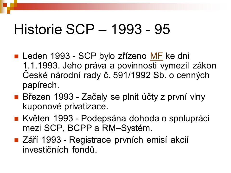 Historie SCP – 1993 - 95 Leden 1993 - SCP bylo zřízeno MF ke dni 1.1.1993. Jeho práva a povinnosti vymezil zákon České národní rady č. 591/1992 Sb. o