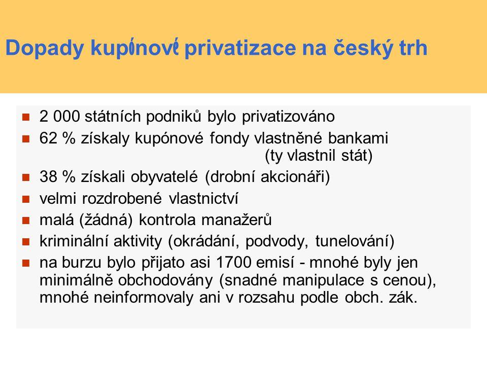 Dopady kup ó nov é privatizace na český trh 2 000 státních podniků bylo privatizováno 62 % získaly kupónové fondy vlastněné bankami (ty vlastnil stát) 38 % získali obyvatelé (drobní akcionáři) velmi rozdrobené vlastnictví malá (žádná) kontrola manažerů kriminální aktivity (okrádání, podvody, tunelování) na burzu bylo přijato asi 1700 emisí - mnohé byly jen minimálně obchodovány (snadné manipulace s cenou), mnohé neinformovaly ani v rozsahu podle obch.