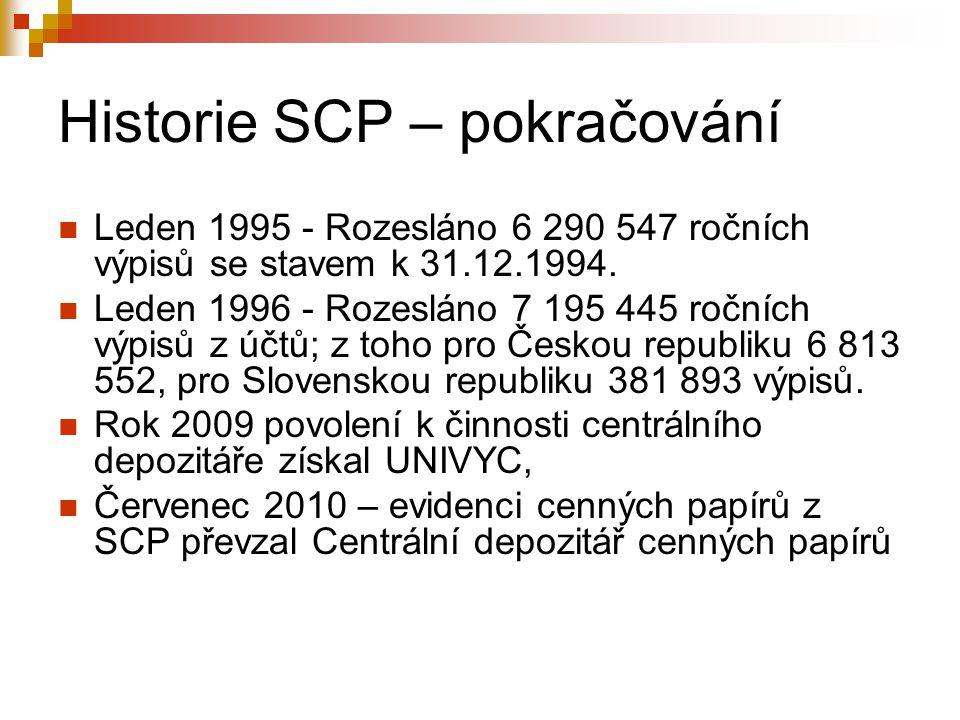Historie SCP – pokračování Leden 1995 - Rozesláno 6 290 547 ročních výpisů se stavem k 31.12.1994. Leden 1996 - Rozesláno 7 195 445 ročních výpisů z ú