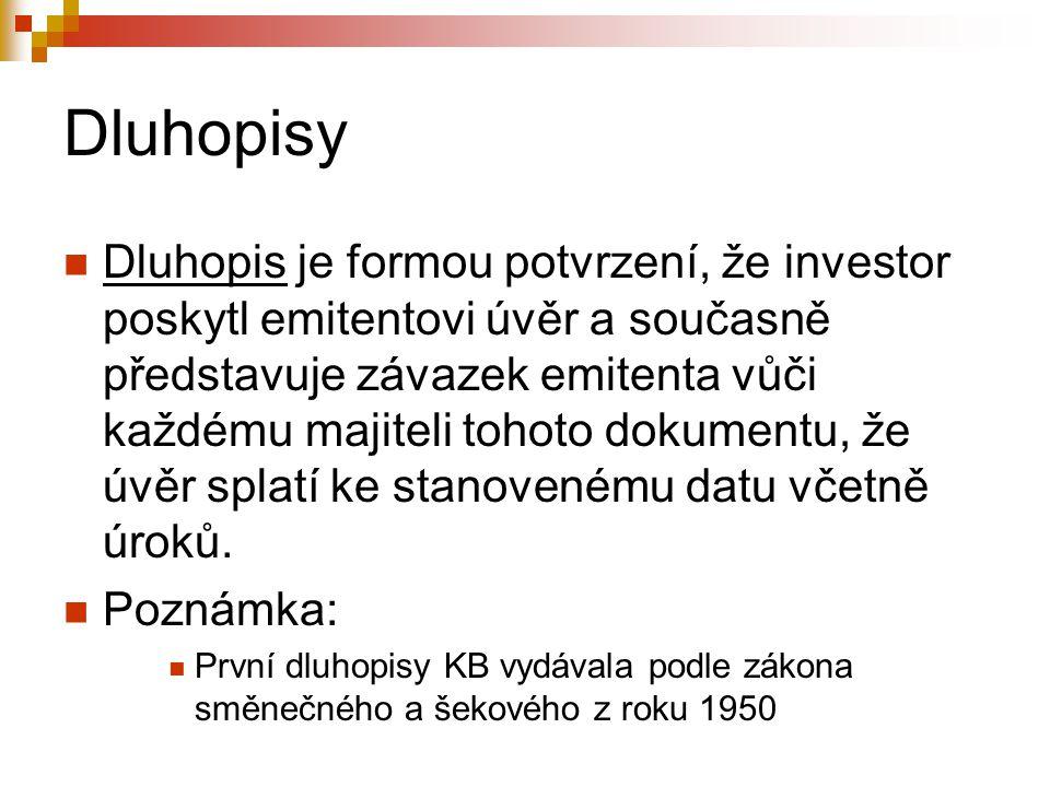 Dluhopisy Dluhopis je formou potvrzení, že investor poskytl emitentovi úvěr a současně představuje závazek emitenta vůči každému majiteli tohoto dokumentu, že úvěr splatí ke stanovenému datu včetně úroků.