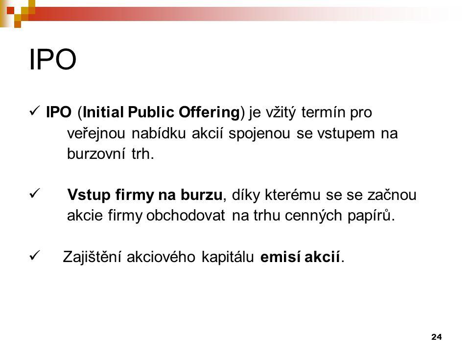 24 IPO IPO (Initial Public Offering) je vžitý termín pro veřejnou nabídku akcií spojenou se vstupem na burzovní trh. Vstup firmy na burzu, díky kterém
