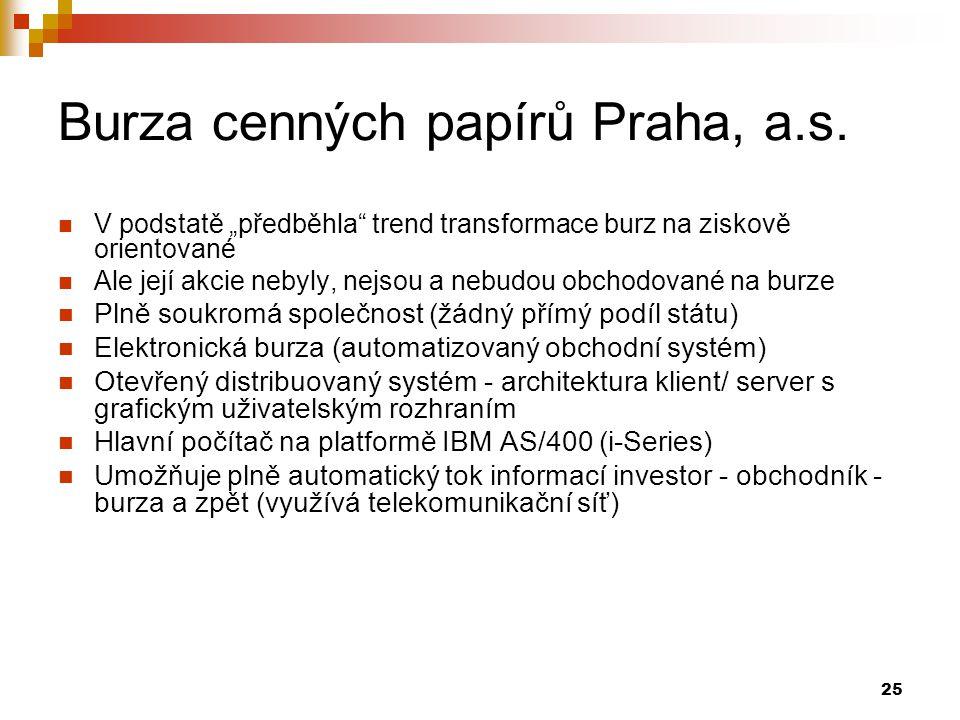 """25 Burza cenných papírů Praha, a.s. V podstatě """"předběhla"""" trend transformace burz na ziskově orientované Ale její akcie nebyly, nejsou a nebudou obch"""