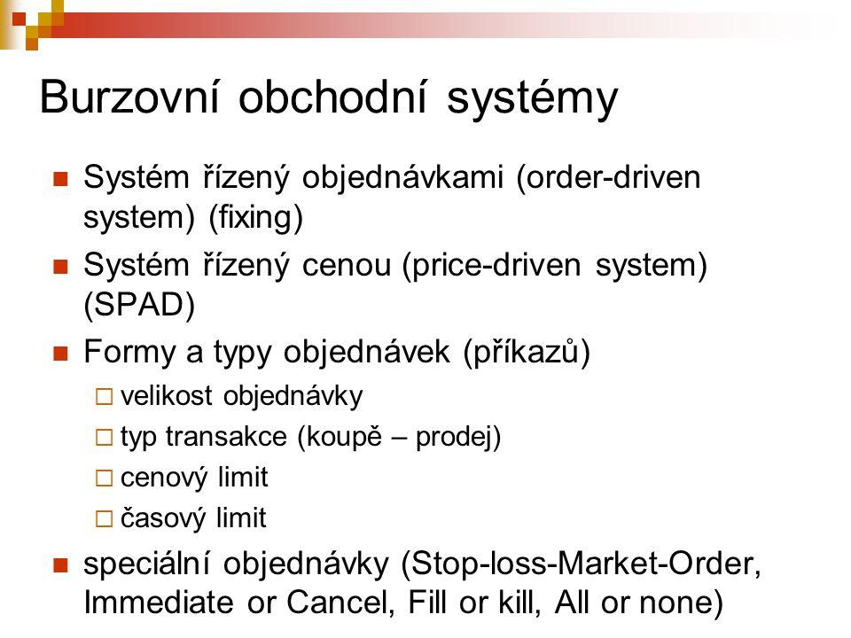 Burzovní obchodní systémy Systém řízený objednávkami (order-driven system) (fixing) Systém řízený cenou (price-driven system) (SPAD) Formy a typy objednávek (příkazů)  velikost objednávky  typ transakce (koupě – prodej)  cenový limit  časový limit speciální objednávky (Stop-loss-Market-Order, Immediate or Cancel, Fill or kill, All or none)