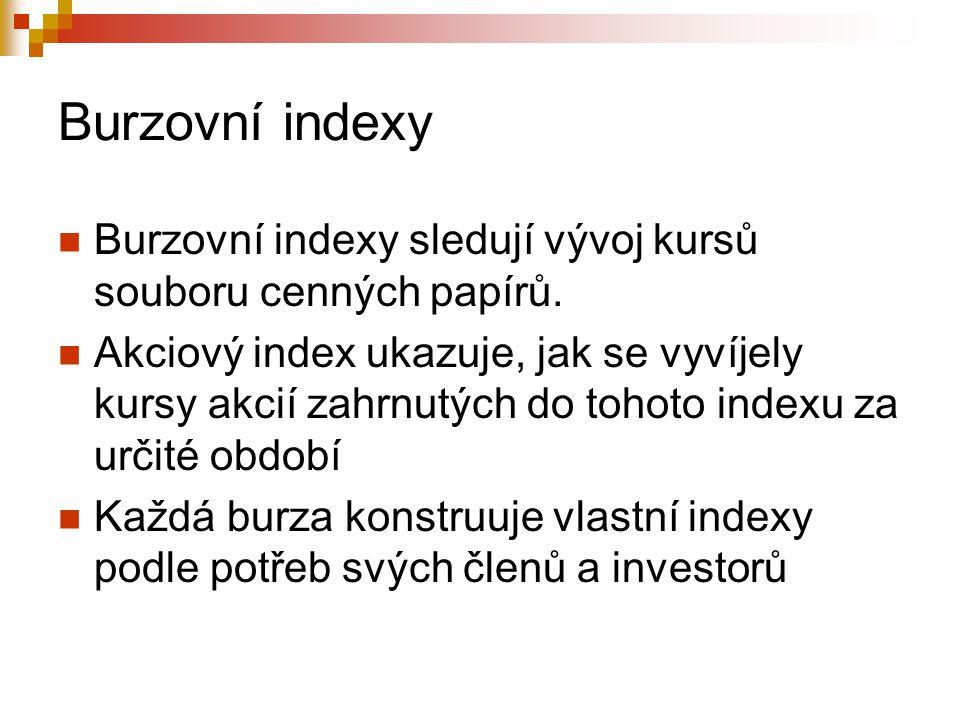 Burzovní indexy Burzovní indexy sledují vývoj kursů souboru cenných papírů. Akciový index ukazuje, jak se vyvíjely kursy akcií zahrnutých do tohoto in