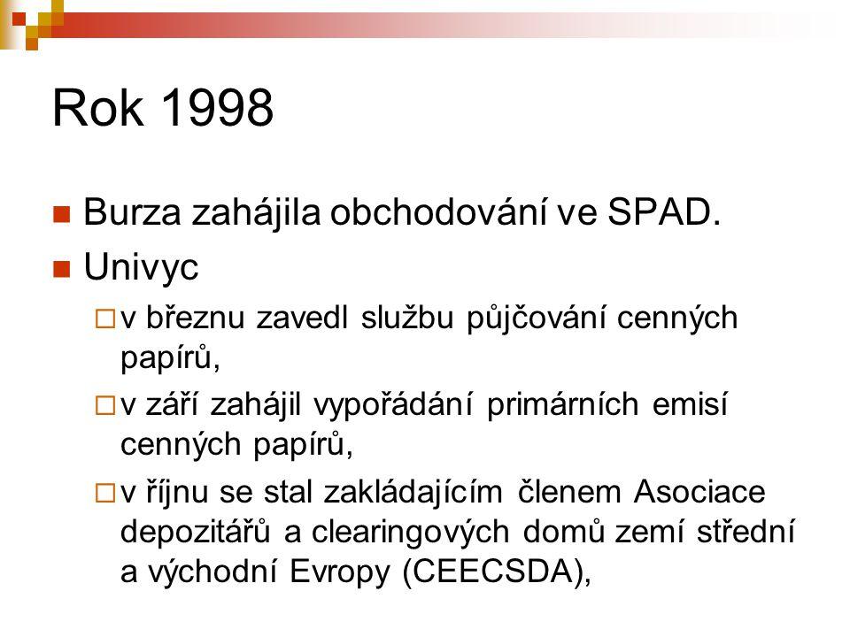 Rok 1998 Burza zahájila obchodování ve SPAD. Univyc  v březnu zavedl službu půjčování cenných papírů,  v září zahájil vypořádání primárních emisí ce