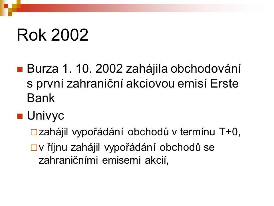 Rok 2002 Burza 1. 10. 2002 zahájila obchodování s první zahraniční akciovou emisí Erste Bank Univyc  zahájil vypořádání obchodů v termínu T+0,  v ří