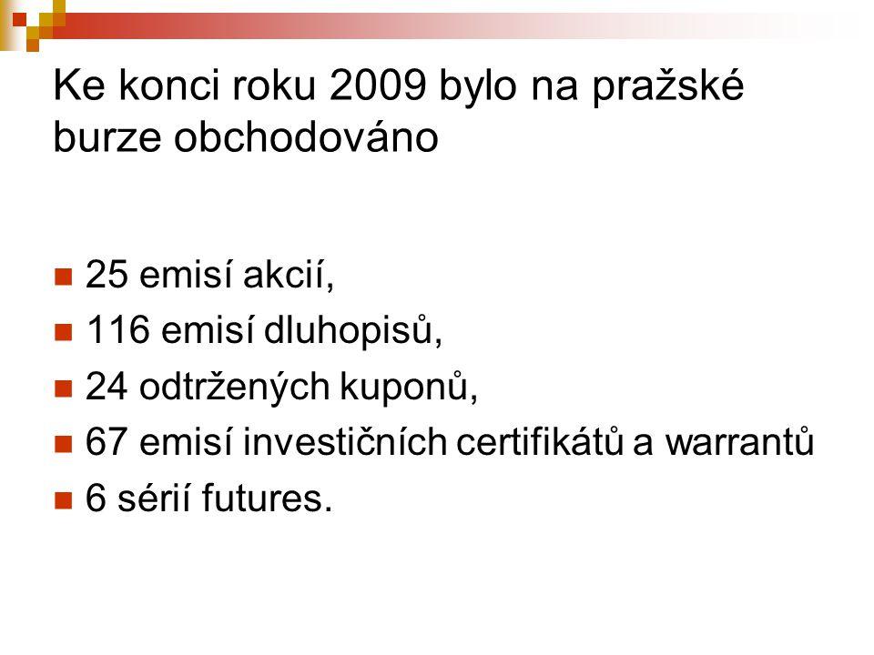 Ke konci roku 2009 bylo na pražské burze obchodováno 25 emisí akcií, 116 emisí dluhopisů, 24 odtržených kuponů, 67 emisí investičních certifikátů a wa