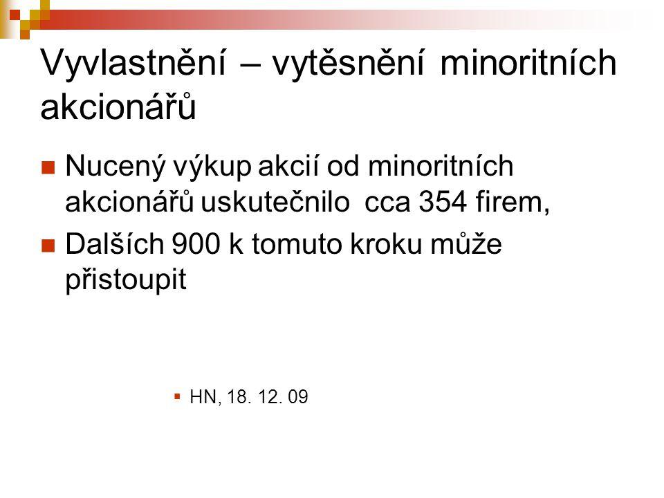 Vyvlastnění – vytěsnění minoritních akcionářů Nucený výkup akcií od minoritních akcionářů uskutečnilo cca 354 firem, Dalších 900 k tomuto kroku může přistoupit  HN, 18.