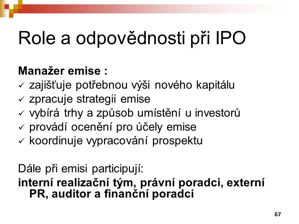 57 Role a odpovědnosti při IPO Manažer emise : zajišťuje potřebnou výši nového kapitálu zpracuje strategii emise vybírá trhy a způsob umístění u investorů provádí ocenění pro účely emise koordinuje vypracování prospektu Dále při emisi participují: interní realizační tým, právní poradci, externí PR, auditor a finanční poradci