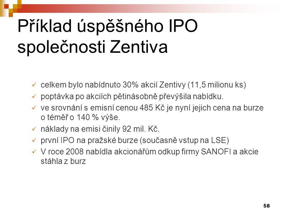 58 Příklad úspěšného IPO společnosti Zentiva celkem bylo nabídnuto 30% akcií Zentivy (11,5 milionu ks) poptávka po akciích pětinásobně převýšila nabíd