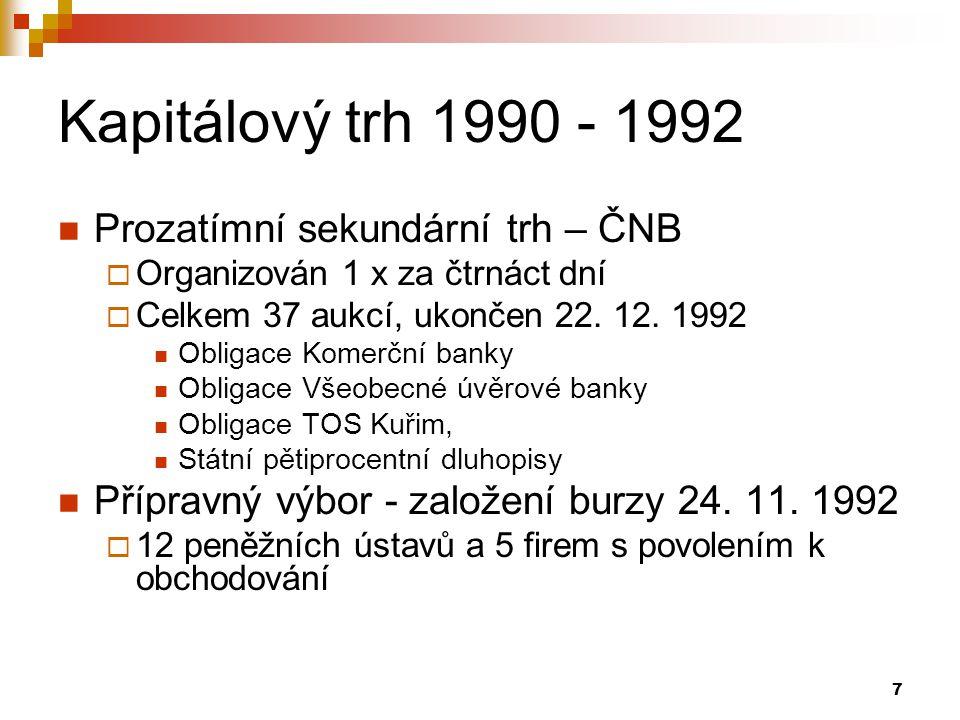7 Kapitálový trh 1990 - 1992 Prozatímní sekundární trh – ČNB  Organizován 1 x za čtrnáct dní  Celkem 37 aukcí, ukončen 22.