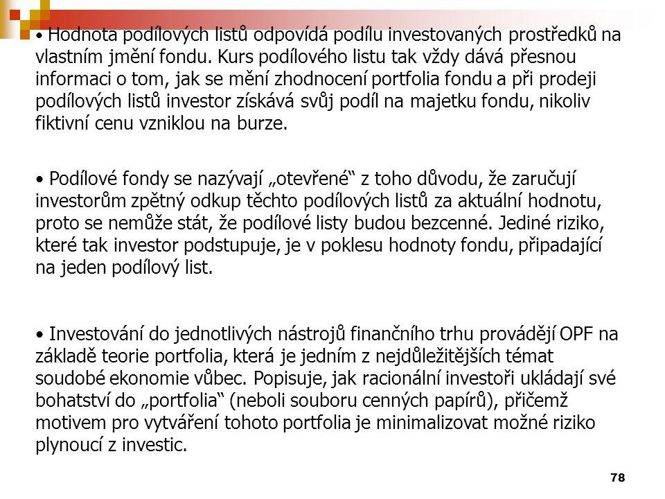 78 Hodnota podílových listů odpovídá podílu investovaných prostředků na vlastním jmění fondu. Kurs podílového listu tak vždy dává přesnou informaci o