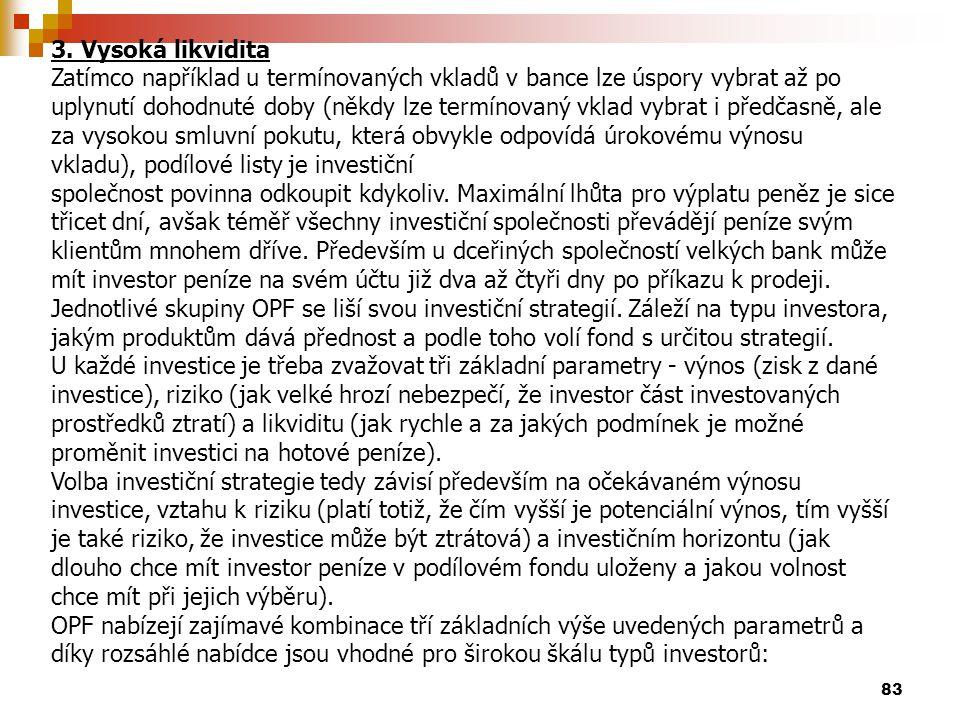 83 3. Vysoká likvidita Zatímco například u termínovaných vkladů v bance lze úspory vybrat až po uplynutí dohodnuté doby (někdy lze termínovaný vklad v