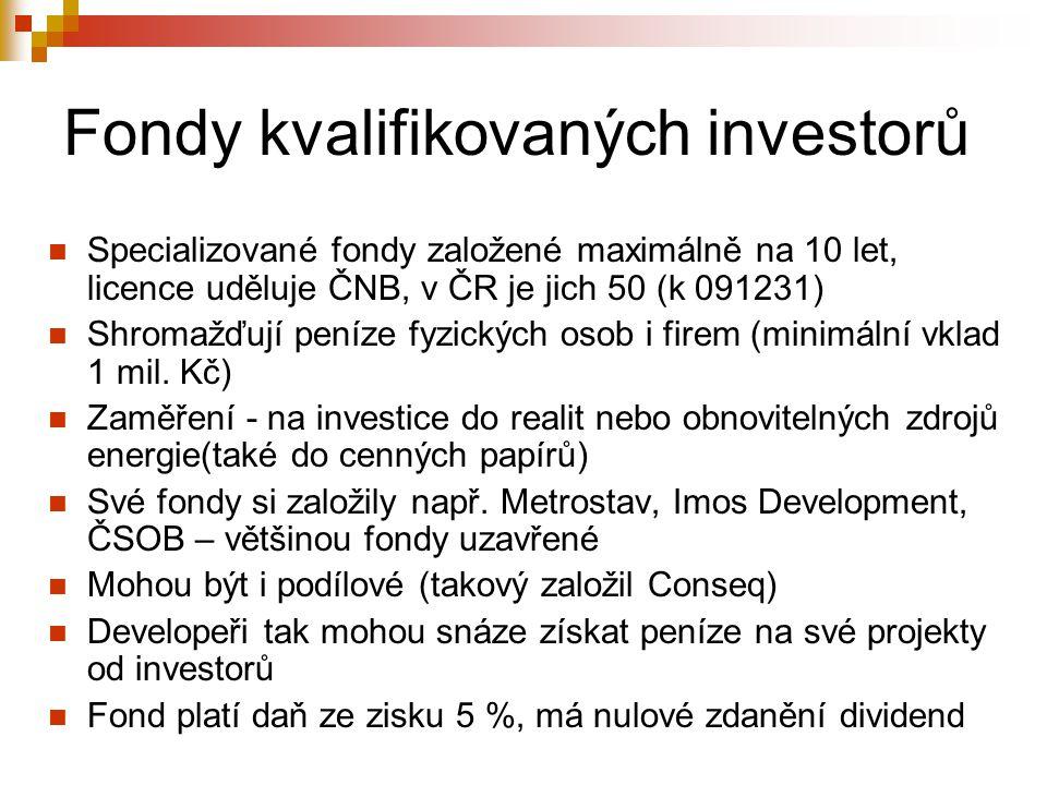 Fondy kvalifikovaných investorů Specializované fondy založené maximálně na 10 let, licence uděluje ČNB, v ČR je jich 50 (k 091231) Shromažďují peníze fyzických osob i firem (minimální vklad 1 mil.