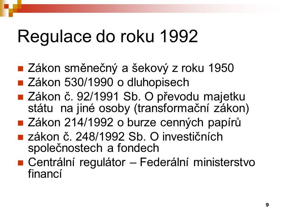 9 Regulace do roku 1992 Zákon směnečný a šekový z roku 1950 Zákon 530/1990 o dluhopisech Zákon č. 92/1991 Sb. O převodu majetku státu na jiné osoby (t