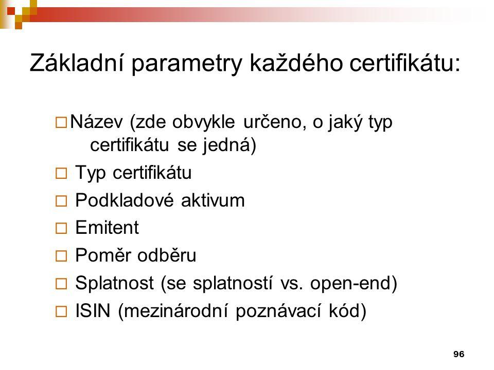 96 Základní parametry každého certifikátu:  Název (zde obvykle určeno, o jaký typ certifikátu se jedná)  Typ certifikátu  Podkladové aktivum  Emitent  Poměr odběru  Splatnost (se splatností vs.