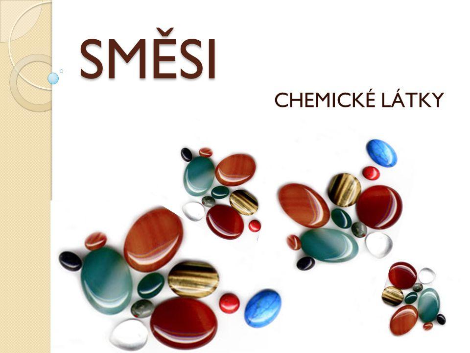 Chemie je přírodní věda o látkách a jejich vzájemných přeměnách LÁTKY CHEMICKÉ LÁTKY SLOUČENINY PRVKY SMĚSI STEJNORODÉ KOLOIDNÍ NESTEJNORODÉ